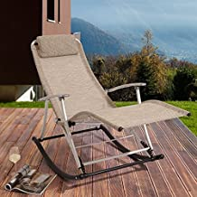 """Leisure Rocking Chair / Lounger """"Rockcamp"""" in Beige with Alu frame"""