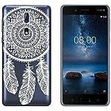 yayago Schutzhülle für Nokia 8 Hülle Spring Ornament Motiv Tattoo Design Transparent