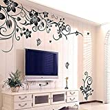 "Wall Sticker, Flyfox® ""Flowers and Vine"" Removable Vinyl Wall Sticker Mural Decal Home Art Decor"