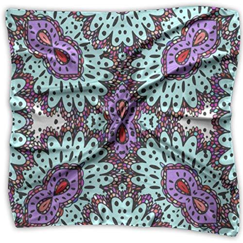 Pizeok Damen Seidenschal Vintage Halloween Eule Spinne Kürbis gedruckt quadratischen Schal Sonnencreme Schals