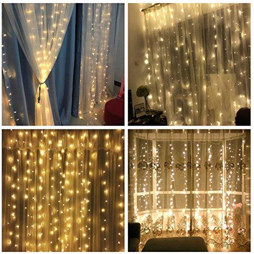 x3m Vorhang Licht Fernbedienung Warm Weiß IP65 Wasserdichte Ketten LED Outdoor Baum Fairy String Hochzeitsfest Weihnachten Lampe 220v mit EU Stecker [Energieklasse A+] (Vorhang-lichter)