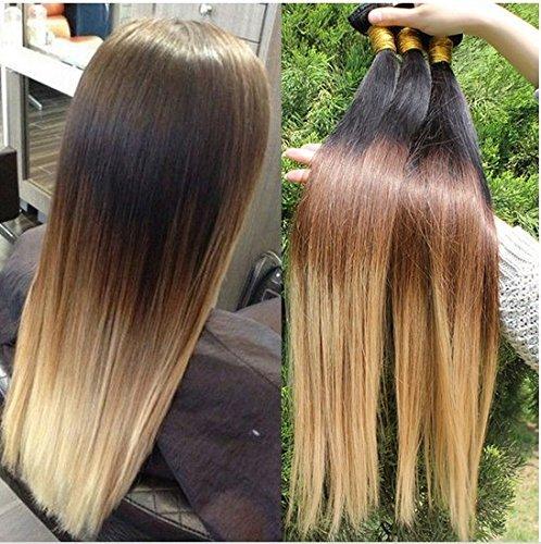 Extensions de cheveux femme ombré trois tons Couleur 1B/4/27 cheveux humains brésiliens vierges droite Extension de cheveux (45,7 cm)