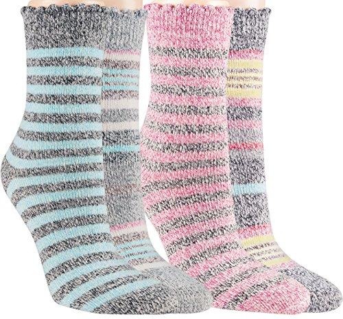 Vitasox 13391 Damen Socken Ringel mit Kaschmir Wolle Damensocken Wollsocken Ringelsocken bunt 4er Set 35/38 (Damen-kaschmir-socken)