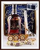 Geschenk Set Jura Origin 10 Jahre Whisky mit Flaschenportionierer + 10 Edel Schokoladen von DreiMeister & DaJa + 4 Whisky Fudge, kostenloser Versand