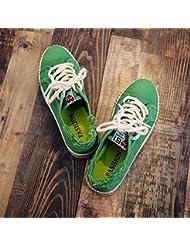 Las Mujeres De Bajo Fondo Plano Superior Encaje Tan Antiguo Lienzo Libre Circulación Skates Zapatos Deportivos Alojamiento,Verde ,40