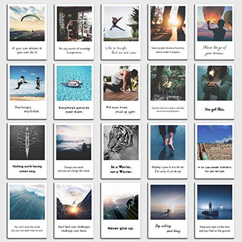Postkarten Set Motivation - 20 motivierende Sprüche, Zitate und Bilder im retro Polaroid Style von INDIVIDUAL NOMAD (Ps-geschenk-karte 20)