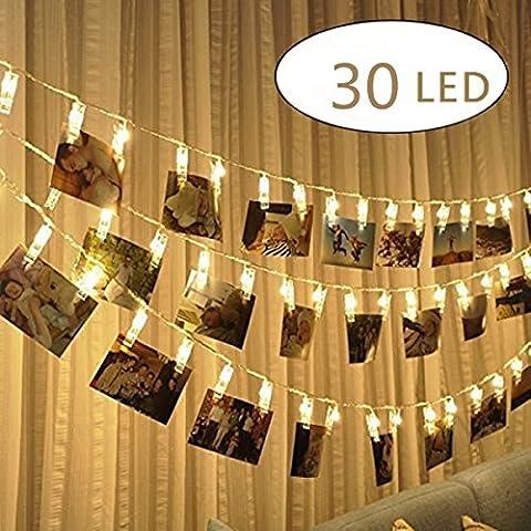 King Age LED Foto Clips Lichterketten - 30 Photo Clips 5M Stimmungsbeleuchtung Dekoration für Hängendes Foto Memos Kunstwerke