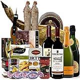 Spanische Geschenke, präsentkorb, geschenkkorb – Gourmet XXL Pata Negra Schinken, Rioja Rotwein und Cava Brut