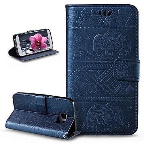 ikasus Compatible avec Coque Galaxy S7 Etui,Embosser Gaufrage Éléphant tribal Housse Cuir PU Housse Etui Coque Portefeuille Protection supporter Flip Case Etui Housse Coque pour Galaxy S7,Bleu marin