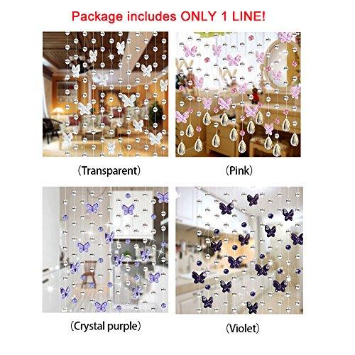 61qc0j7wyBL - FAVOLOOK Cortina de cuentas de cristal con mariposas, cadena de araña, rollo de cuerda de cuentas para bricolaje, decoración de Navidad o boda, Morado claro, Tamaño libre
