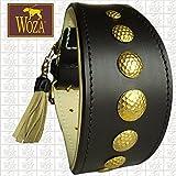 Woza Premium WINDHUND Halsband 6,8/47CM Romulus Vollleder SCHWARZ RINDNAPPA BEIGE Handmade Greyhound Collar Messing