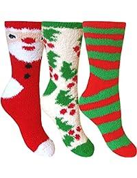 Women's Fluffy Stripes & Polka Dot Co-Zee Thermal Socks (3 Pair Pack)