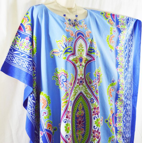 Cool Kaftans - Kaftan Femme BALI Indonésie Plage Ample Long Bleu
