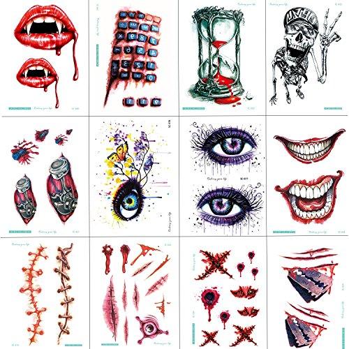 Tatuaggi temporanei, halloween terrore zombie cicatrici ferita sanguinante sangue trucco adesivo, trucco tatuaggi adesivi per halloween party prop e cosplay sticker, 12 fogli di design diversi