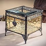 J Devlin Glass Art jdevlin Box 406–2–Scatola di vetro antico per dei ricordi, Scatolina in vetro giallo con Charm a forma di cuore, decorazione per la casa in stile vintage