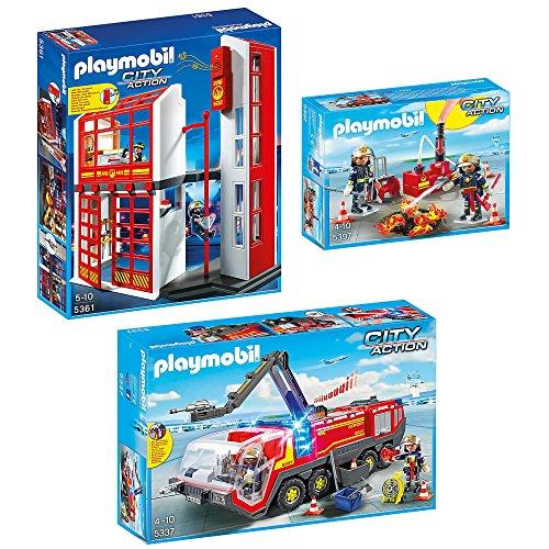 Preisvergleich Produktbild PLAYMOBIL® City Action 3er Set 5361 5337 5397 Feuerwehrstation + Flughafenlöschfahrzeug + Brandeinsatz mit Löschpumpe