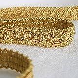 Posamentenborte 1,0 m / Breite 16 mm / Farbe Gold / Honiggelb / Brokatborten Dekoborte Bordüre Borte mit Posamenten Fransen Brokat Spitze Bordüre Antik Jugendstil Barock