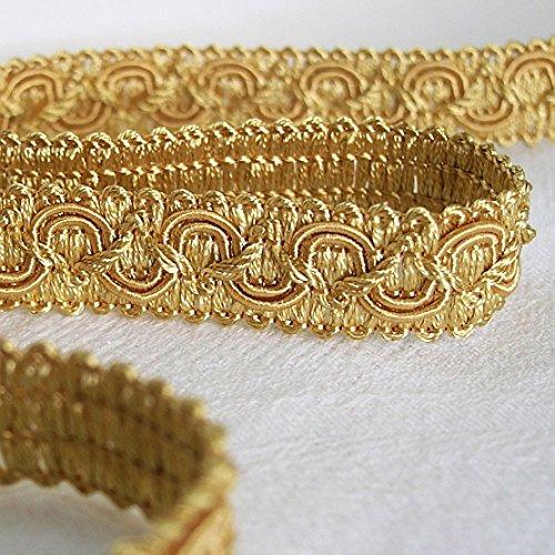 Posamentenborte 1,0 m / Breite 16 mm / Farbe Gold / Honiggelb / Brokatborten Dekoborte Bordüre Borte mit Posamenten Fransen Brokat Spitze...