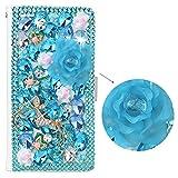 SpritechTM 3D spooff azul con diamantes de imitación de flores decoración Color blanco piel, PT-1, Samsung Galaxy Note 5