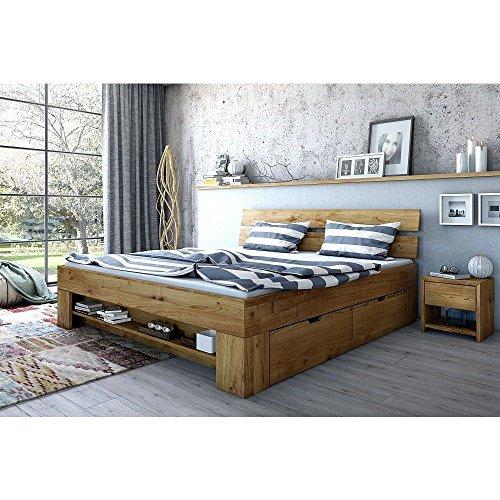 moebel-store24 Letto per futon Sara, 180 x 200 cm, con 4 cassetti, in Legno di Rovere Massiccio Oliato