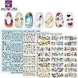 KADS 4 Blatt Weihnachten Nagelaufkleber Nailart Sticker Nagel-Abziehbilder selbstklebend - Schnee, Weihnachtsmann,Rentiere,Schneeflockendesigns (Weihnachtsset 1)