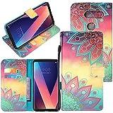 LG V30 Case, LG V30 Plus Case, LG V30+ Case, CimdaUS PU Leather Wallet Flip Folio [Kickstand] Case Cover With Card Slot Wrist Strap For LG V30 / V30 Plus / V30+ (C-4)