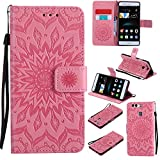 For Huawei P9 Case [Pink],Cozy Hut [Wallet Case] Magnetic Flip Book Style Cover Case ,High Quality Classic New design Sunflower Pattern Design Premium PU Leather Folding Wallet Case With [Lanyard Strap] and [Credit Card Slots] Stand Function Folio Protective Holder Perfect Fit For Huawei P9 (5,2 Inch) - Pink