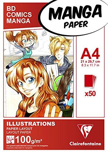 Clairefontaine 94042C Blocco Illustrazioni Manga, A4, 50 Fogli, Bianco