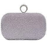 Damen Strass Abendtaschen Clutch Umhänge Tasche Handtasche mit Ring in vielen Farben (Violett)