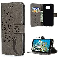 S8 Case, Galaxy S8 Wallet Case, YOKIRIN PU Leather Magnetic Folio Inner Soft TPU Embossed Butterfly Hand with Card Slots Kickstand Flip Wallet Cover for Samsung Galaxy S8, Gray