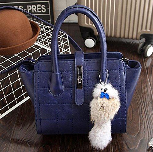 HQYSS Damen-handtaschen Frauen PU-lederner einfacher wilder Schulter-Kurier-Handtaschen-Normallack-große Kapazität Crossbody Beutel-Einkaufstasche deep blue (fox pendant)