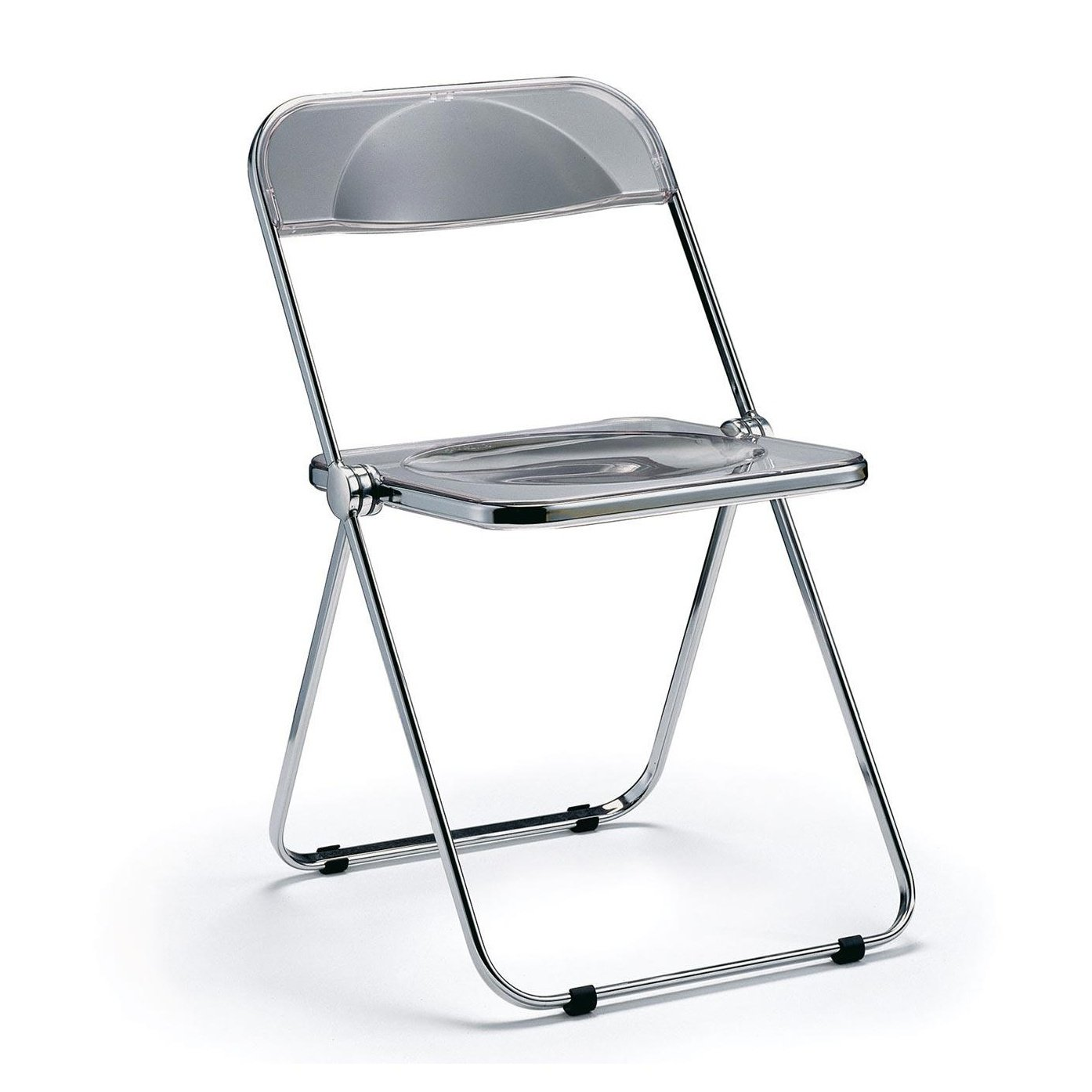 Plia Folding Chair smoke frame chromed with black plastic gliders