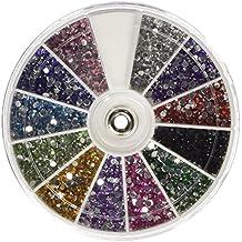 CAOLATOR 12 Rejilla Caja Remache Pegatinas de Uñas Pintura del Moda Crystal Nail de DIY Accesorios De decoración de Nail Art Rueda Manicura (2400 Piece 12 Colors)