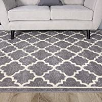 Light Grey Silver Geometric Trellis Fish Net Design Living Room Floor Rug by The Rug House