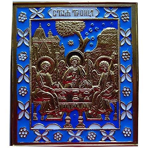 Icona della Sacra Trinità in ottone smaltato. Icona estremamente ricco nella sua symoblique vedere su You Tubo Video: icona della Santa trinité-de St.andrés roublev