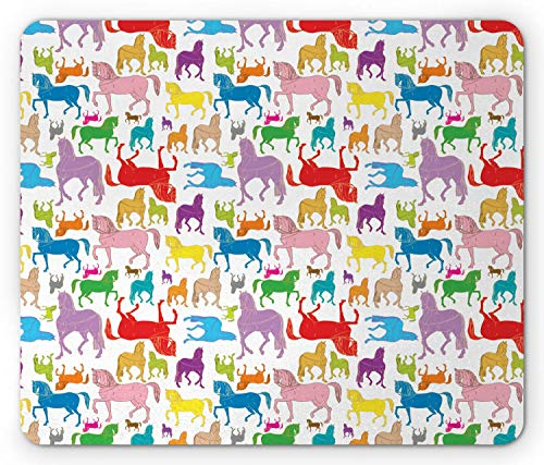 Pferde-Mausunterlage, bunte abstrakte Pferdeschattenbild-Hengst-Muster-Hand gezeichnete Illustration der wild lebenden Tiere, Standardgrößen-Rechteck-rutschfestes Gummi-Mousepad, Mehrfarben,Gummimatte -