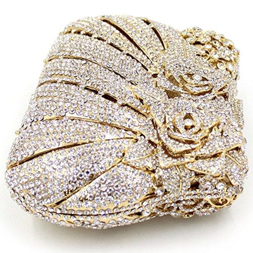 Santimon Clutch Delle Donne Bling Rosa Fiore Borsellini Cristalo Strass Borse Da Festa di Nozze Sera Con Tracolla Amovibile E Paccp Regalo 6 Colori oro
