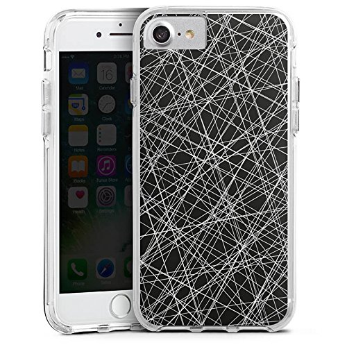 Apple iPhone 8 Bumper Hülle Bumper Case Glitzer Hülle Kratzer Scratches Linien Bumper Case transparent