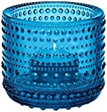 Iittala Kastehelmi Candelina, Portacandelina, Support for Candles Closed, windproof, Glass, Turquoise, cm 6.4, 1007723