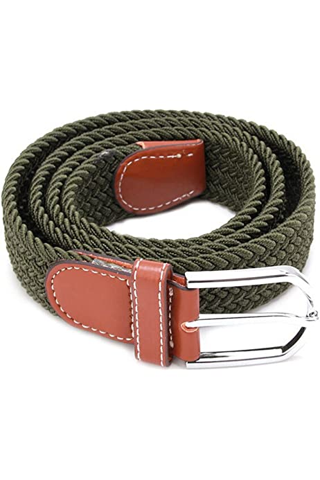 Belt For Men Elastic Waistband CanvasBuckle Braided Mens Woven Stretch Straps JH