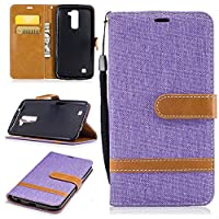 For LG K10 Case [with Free Screen Protector], Qimmortal(TM) Premium Soft PU Leather Cowboy Cloth Wallet Cover Case with [Kickstand] Credit Card ID Slot Holder Magnetic Closure Design Folio Flip Protective Slim Skin Cover For LG K10(Purple)