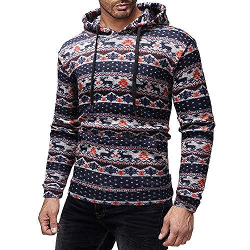 Elecenty Herren Weihnachten Kapuzenpullover Männer Xmas Drucken Weihnachtspulli Sweatshirt Weihnachtspullover Kapuzenjacke