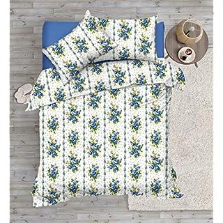 Ashley Mills Bettwäsche-Set aus 100% gebürsteter Baumwolle, Thermoflanell, Baumwolle, blau, Doppelbett