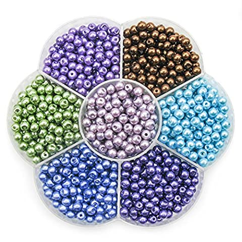TOAOB 4mm Round Glass Pearl Beads Mixed Colour with Box Pack of 1050pcs