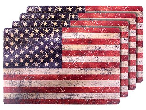 4 PZ di tovagliette americane in stile bandiera Stati Uniti (145084), set da tavola in polipropilene di alta qualità, Misure 44 x 28,5 cm, per decorazione festa a tema USA americaco Stars and Stripes - Monouso Tovagliette Bambini