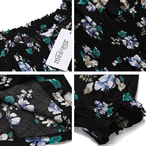 Meaneor Kleider Sommer Damen Kurze Partykleider Strandkleid Midi Schulterfrei elastische Taille Blumen Kleid Schwarz