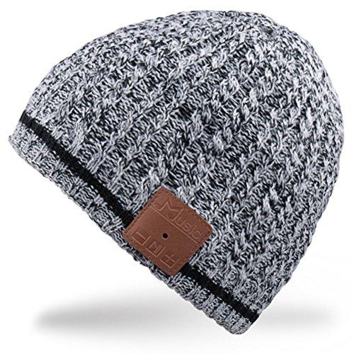 Rotibox Mens para mujer Bluetooth Beanie Hat Cap inalámbrico estéreo altavoz auriculares, micrófono, manos libres y batería recargable   Negro