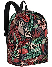Girls' 16-Inch Tropical Floral Print High Student School Backpack
