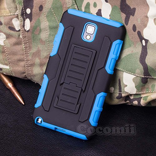 Galaxy Note 3 Hülle, Cocomii Robot Armor NEW [Heavy Duty] Premium Belt Clip Holster Kickstand Shockproof Hard Bumper Shell [Military Defender] Full Body Dual Layer Rugged Cover Case Schutzhülle Samsung N900 (Blue)
