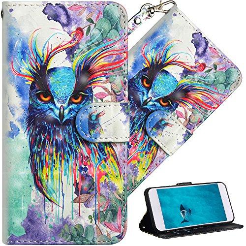 COTDINFOR Huawei Y6 2018 Hülle für Geschenk Lederhülle 3D-Effekt Painted Kartenfächer Schutzhülle Protective Handy Tasche Schale Standfunktion Etui für Huawei Y6 2018 Watercolor Owl YX.